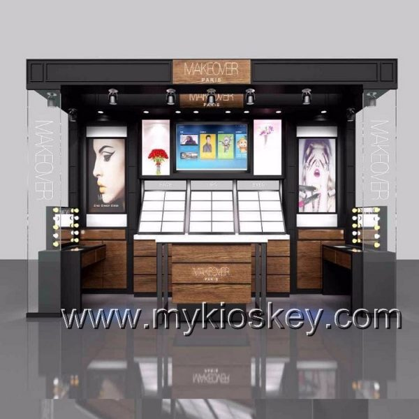 Luxury Cosmetic Display Counter Wood Makeup Display Stand